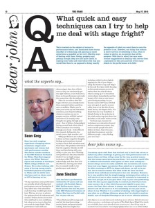 Article featuring Sean helping performers deal with Stage Fright
